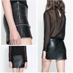 Zara Real Leather Mini Skirt Black Zipper Details